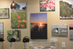 Wall of photos at United Community Bank of Perham