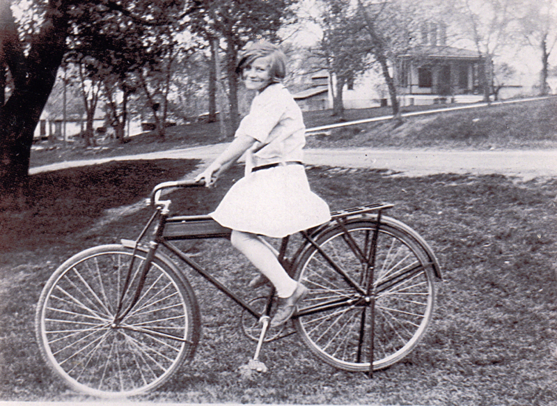 Gertrude Saffrin on her bike