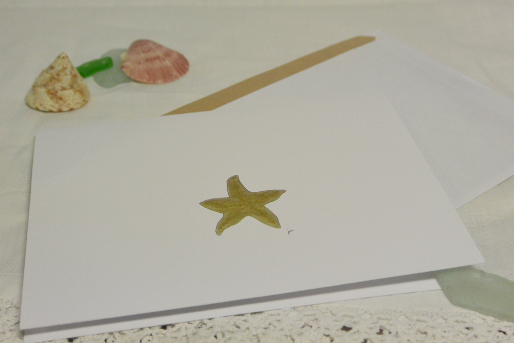 A little golden starfish blank greeting card | http://juliesaffrin.com